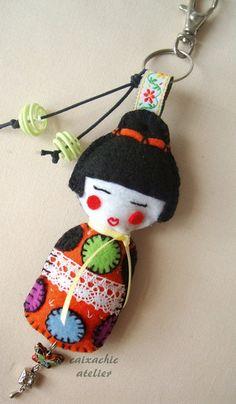 Felt Kokeshi Doll Keychain