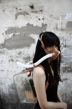 """s air. one planet. Chiu Chih's """"Survival Kit for the Ever-Changing Planet"""" - Wearable Plant Cleans The Air For You When Pollution Is Bad Post Apocalyptic Fashion, Dark Circus, Beauty Photography, Planets, Steampunk, Portraits, Cool Stuff, Plant Based, Oxygen Mask"""