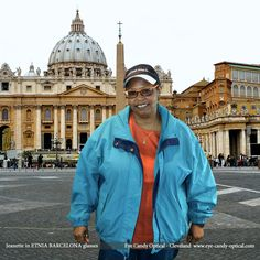 Jeanette gets up close and personal at the Vatican in her new Etnia Barcelona glasses.  Eye Candy makes it happen in Rome!  Be who you want to be at Eye Candy Optical!  www.eye-candy-optical.com