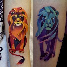 Geometric watercolor-like tattoos by Russian based artist Sasha Unisex
