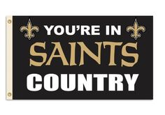 """NFL New Orleans Saints 3-by-5 Foot """"In Country"""" Flag by Fremont Die. $15.99. 3-by-5 Foot polyester Flag. Actual team colors. Officially licensed NFL product.. Reinforced headband with two grommets for flying. Screen printed with uva protection. NFL New Orleans Saints 3-by-5 Foot """"In Country"""" Flag"""
