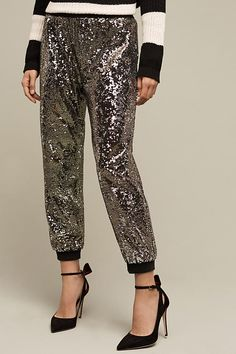 Sequin Jogger Style Pants 90s Deadstock Black Sequin Trousers ML