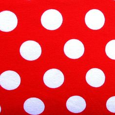 White Nickel Sized Polka Dots on Red Cotton Lycra Knit Fabric. For G.