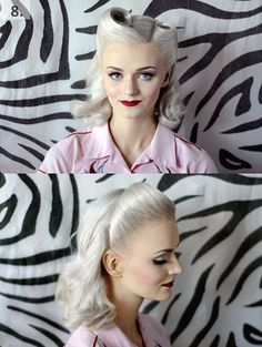 Forget About Gray, These Looks Will Make You Want To Dye Your Hair White. Victory rolls