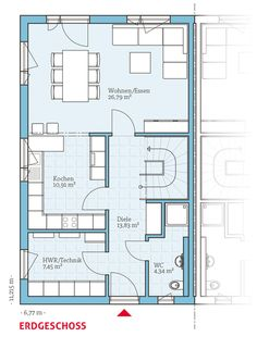 Grundriss-EG, Fertighaus Doppelhaus 45-119, 63,32 m²
