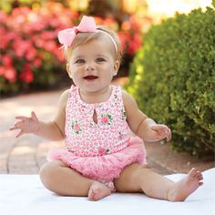 Bamboo-blend ruffle neck tank crawler has attached mesh tutu and bow back. Inner leg snap closure. #MudPieGift