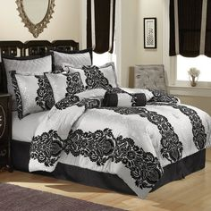 PEM America Scroll Comforter Set in Black and Silver: Bedding : Walmart.com  $140