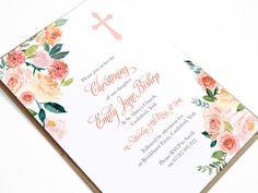 Baby Girl Baptism Invitation Christening Invite