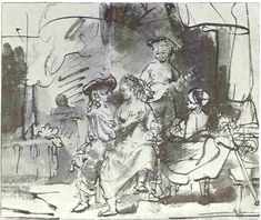 Rembrandt, Soldiers and girls carousing, ca. 1635. Berlin, Kupferstichkabinett References: Benesch 100 verso. Corpus of Rembrandt paintings, vol.