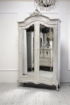 Full Bloom Cottage...another dreamy French white armoire...this one has mirrored inlays. <3!