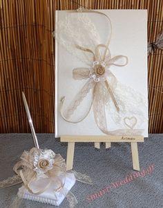 Βιβλίο ευχών γάμου και στυλό με βάση με λουλούδι από λινάτσα