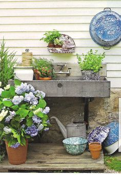A large sink in the garden for repotting