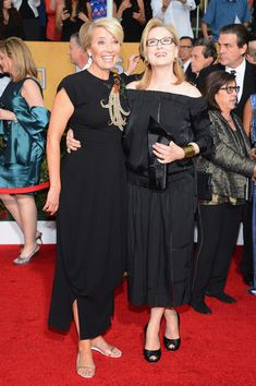 Actresses Emma Thompson (L) and Meryl Streep attend the 20th Annual Screen Actors Guild Awards at The Shrine Auditorium on January 18, 2014 ...