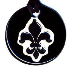Fleur De Lis Ceramic Necklace in Black by surly on Etsy, $18.00