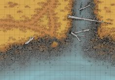 The Shingle Shore, a battle map for D&D / Dungeons & Dragons, Pathfinder, Warhammer and other table top RPGs. Tags: river, water, wilderness, plains, shore, lake