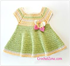 Free #Crochet Pattern Butterfly Kisses Dress by CrochetZone.com