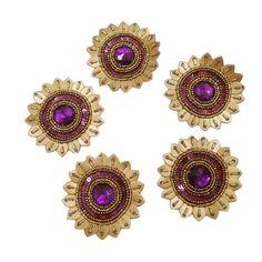 FREE SHIPPING Purple Beaded Appliques Sun by Indianbeautifulart, $10.99
