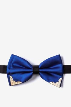 Metal-Tipped Blue Pre-Tied Bow Tie