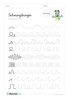 Schwungübungen - Lynne Seawell's World Educational Activities, Learning Activities, Activities For Kids, Teaching Kids, Kids Learning, Kindergarten Math, Preschool, Neat Handwriting, Beginner Sewing Patterns