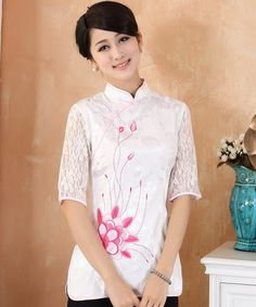 784dfb290f0e1 Floral Embroidery Illusion Sleeve Traditional Cheongsam Top Chinese Shirt