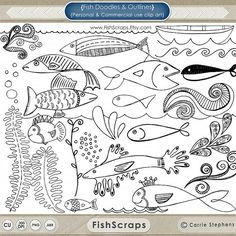 Fish Outlines - Doodles and Photoshop Brushes - Fish Clip Art - Nautical ClipArt - Digital Stamps -  Instant Download
