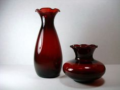 Vintage Ruby Red Vase  Anchor Hocking Ruby Red Vase by Kisses4Lucy