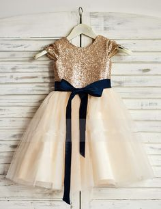 Sparkly Rose Gold Sequins Long Flower Girl Dress with Navy Blue Sash