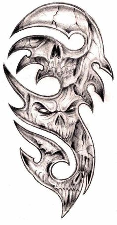 Skull and Rose Tattoo Designs Unique 40 Tribal Skull Tattoos Ideas Tattoos 3d, 4 Tattoo, Bild Tattoos, Skull Tattoos, Tattoo Drawings, Body Art Tattoos, Tribal Tattoos, Sleeve Tattoos, Tattoo Flash
