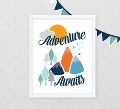 Blue and Orange Nursery Decor - Adventure Awaits art print from @Kindertype #Pnapproved