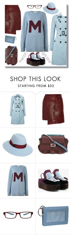 """light blue meets maroon"" by katymill ❤ liked on Polyvore featuring Phase Eight, Isabel Marant, Borsalino, Fendi, Marni, GlassesUSA, Clava, maroon and lightblue"