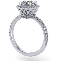 14 kt white gold Engagement ring set with 0.50ct diamonds with round... ($1,750) ❤ liked on Polyvore featuring jewelry, rings, diamond jewellery, white gold engagement rings, white gold jewellery, white gold rings and white gold jewelry