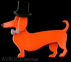 Erstwilder Brooch Pin Pierre and the Dancing Hat Dachshund Dog Red Gallery Round Gift Boxes, Dachshund Dog, Dachshunds, Fancy Bows, Polymer Clay Animals, Weenie Dogs, Plastic Jewelry, French Artists, Dog Walking