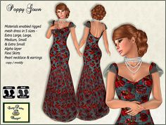 Materials enabled rigged mesh Poppy Gown in 5 sizes for Second Life