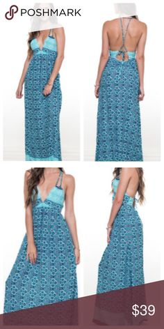 Sale! 🆕NWT Turquoise Maxi dress size large Bold and sexy turquoise maxi dress size large.  Features an open twist tie back as shown in pictures.  Has a side zipper for an easy wear.  Material: Rayon/ Polyester/ cotton Available sizes: Large  ❤️Add to bundle and save ✖️ No Paypal or outside transactions  (Represented are stock photos from the boutique) Dresses Maxi