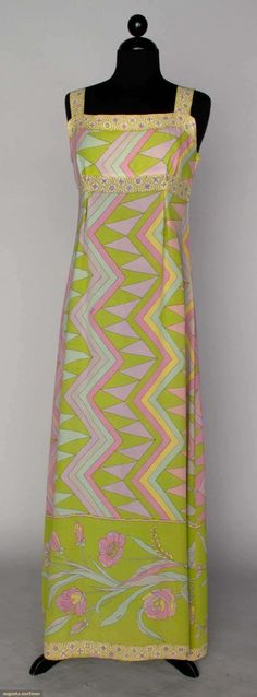 Augusta Auctions: Pucci silk pink and green evening gown, 60s And 70s Fashion, Green Fashion, I Love Fashion, Vintage Fashion, 1960s Outfits, Vintage Dresses 1960s, Vintage Outfits, Sophia Loren, Marilyn Monroe