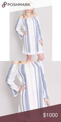 ⭐️HP!✨JUST IN✨ striped off-shoulder dress striped denim blue and white off shoulder long sleeve dress with white crochet hem design. Perfect for beach photos or graduation ceremony! Just arrived! Host pick for best in skirts and dresses party, 5/14/17! Dresses Mini