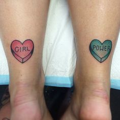 Melanie Milne tattoo girl power candy hearts