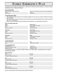 Family Emergency Plan Template √ 30 Family Disaster Plan Template In 2020 Family Emergency Binder, Emergency Preparedness Plan, Emergency Preparation, Emergency Supplies, Disaster Preparedness, Survival Prepping, Survival Skills, Emergency Kits, Emergency Planning