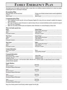 family emergency plan printable documents for your emergency binders emergency preparedness. Black Bedroom Furniture Sets. Home Design Ideas