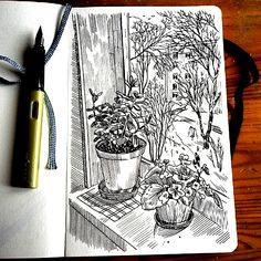 View from the window # sketch # lifesketch # hahnemuehle # illustratedlife # graphic # graphicartwork # sketchbook # sketchbooks graphics # # # sketch artist . Sketchbook Drawings, Art Sketches, Simple Sketches, Ink Pen Drawings, Pen Sketch, Window Sketch, Stylo Art, Sketchbook Inspiration, Urban Sketching