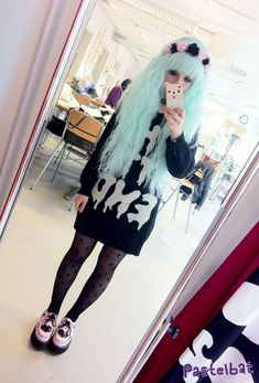 My outfit today☆彡 Headband:by irodohieru Wig: gothiclolitawigs Sweater:banana fish Tights:Topshop Shoes: tuk (they are sold out so don't ask me where you can buy them cause i don't know Σ(゚д゚lll))