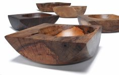 spalted pecan, red gum, walnut, slippery elm, and butternut (front to back).