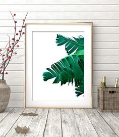 Tropical Printable Art Leaf Print Tropical Leaves Banana