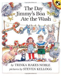 Cause & Effect - The Day Jimmy's Boa Ate the Wash by Trinka Hakes Noble, http://www.amazon.com/dp/0140546235/ref=cm_sw_r_pi_dp_1E3eqb11NBGJ4