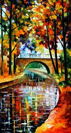 "DELIGHTFUL PARK— PALETTE KNIFE Oil Painting On Canvas By Leonid Afremov - Size 36""X20"""