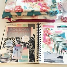 """I recently started a new INSPIRATION BOOK for my projects. There is something about an """"old fashioned"""" mood board, where you can touch & feel fabric choices and trims. Here is a little peak, behind the scenes, into my creative process.... #moodboard #oceanlove #pink #aqua #interiordesign"""