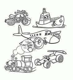 Transportation coloring page for toddlers, coloring pages