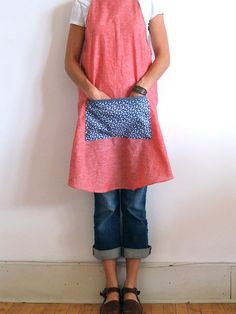 Womens Cross Back Apron / Soft Red Linen Blend / Pinafore / Smock / Work Apron / Artists Smock / Made to Order