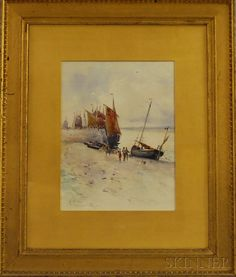 "Charles-Francois Daubigny /""Boats on the Seacoast at Etaples/"" — Fine Art Print"