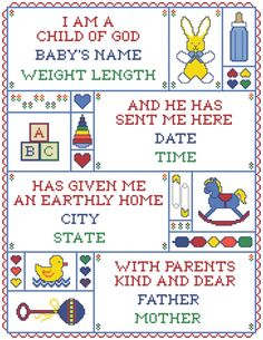 I Am A Child of God Counted Cross-Stitch Birth Record 2